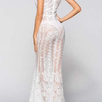 White Flowers Lace Zipper Sheer Wedding Gowns Clubwear Evening Party Formal Maxi Dress