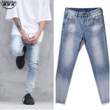 Man Si Tun 2017 New Fashion Streetwear Casual Patches Jeans Rockstar Moto Rock City  424 Designer Acid Wash Mens Skinny Jeans