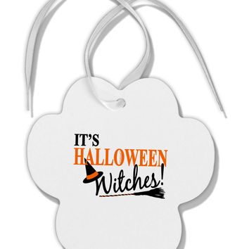 It's Halloween Witches Hat Paw Print Shaped Ornament