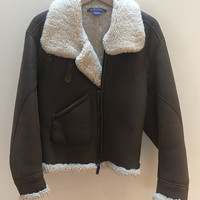 Gorgeous RALPH LAUREN collection Purple Label Shearling Brown Leather Jacket size 6 - NEW!