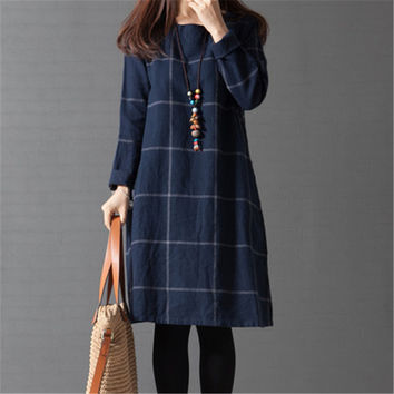 Long Sleeve Plaid Women Dress
