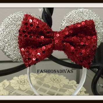 Minnie Mouse Ears Headband Silver Sparkle Ruby Red Sequin Bow Mickey Mouse Ears, Disneyland, Disney World, Holiday Mouse Ears