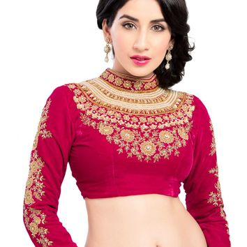 Maharana Full Sleeve Pink Velvet Saree Blouse Sari Choli Crop Top - KP-72