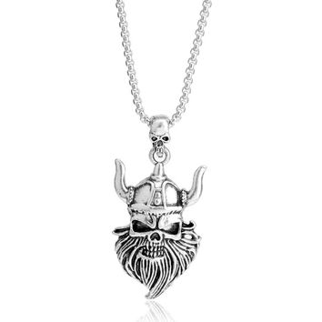 Hip Hop Men Personalized Jewelry Charm Chain Necklace Skull Pierced Tattoo Pendant Statement Charm Chain Necklace For Male Gifts