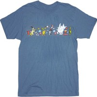 Dr. Seuss Parade of Characters Indigo Blue Adult T-shirt