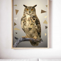 Geometric Owl Painting Poster Art Print Canvas Print Wall Decor Canvas Poster Print Digital Print Designer Art Painting Wall Art Home Gift