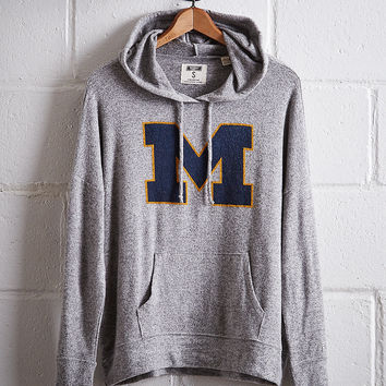 Tailgate Women's Michigan Plush Hoodie, Gray Heather