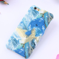 Blue oil painting mobile phone case for iPhone 7 7 plus iphone 5 5s SE 6 6s 6 plus 6s plus + Nice gift box 71501