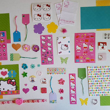 Free shipping. Journal kit. Junk journal, scrapbook, paper pack, mixed media kit, pocket letters kit. Hello kitty theme.