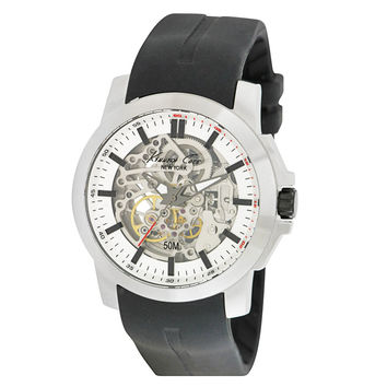 Kenneth Cole KC1852 Men's Automatic Silver Skeleton Dial Black Silicone Strap Steel Watch