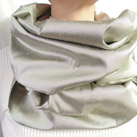 Silk Infinity Scarf, Raw Silk, Silver, Spring Scarf, Summer Scarf, Womens Scarf, Oversize Scarf, Evening Scarf, Extra Long, Gift