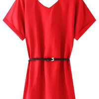 Red Short Sleeve V-Neck Dress