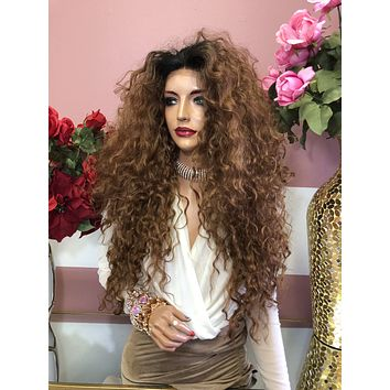 """Ombre Brown Long Curly Lace Front Wig 28"""" 0219 4"""
