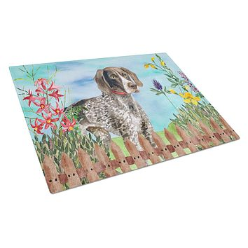 German Shorthaired Pointer Spring Glass Cutting Board Large CK1203LCB