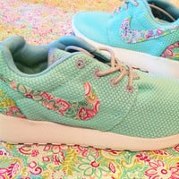 Custom Women's Patterned Swoosh and Heel Nike Roshe Run