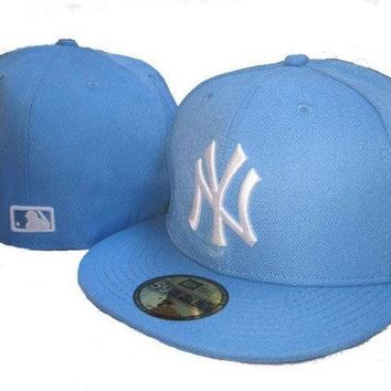 New York Yankees New Era Mlb Authentic Collection 59fifty Cap Light Blue White
