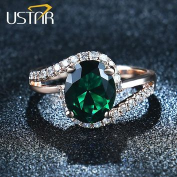 USTAR Oval Green 2.0ct CZ Crystals wedding rings for women Micro Paved 30pcs AAA Zircon engagement rings female anel bague femme