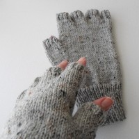 Grey Half-Finger Gloves Large Adult Size Texting Gloves Ready to Ship
