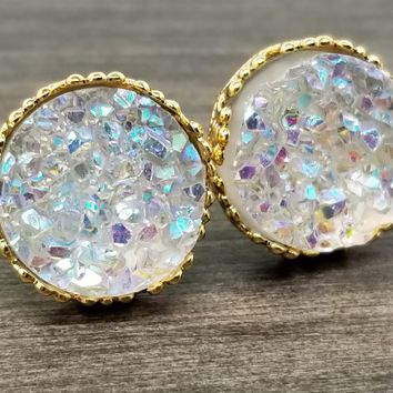 Rainbow clear faux druzy in Crown stud earrings (you pick setting tone)