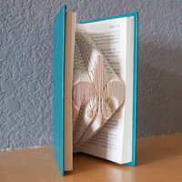 Housewarming Gift-Fleur De Lis-Folded Book Art- Book Lover-Home Decor
