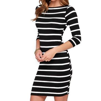 WJ Everyday Dresses Autumn Women Sexy Slimming Wrap Lady Fashion Clothing Casual Striped Bodycon Party Dress Vestidos