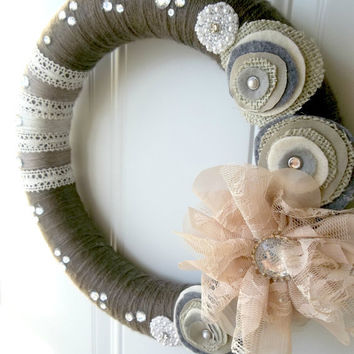 Shabby Chic Yarn and Lace Wreath with Flower by WreathsByEmmaRuth