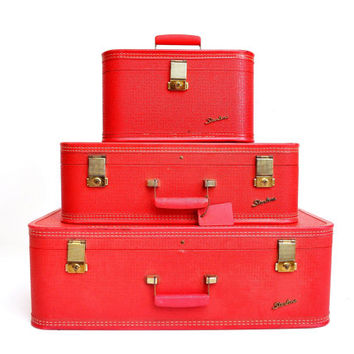Mid-Century Red Starline Suitcase Set