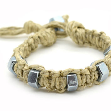 Thick Hemp Bracelet, Mens Hemp Bracelet, Metal Washer Bracelet, Hemp Bracelets, Surf Jewelry