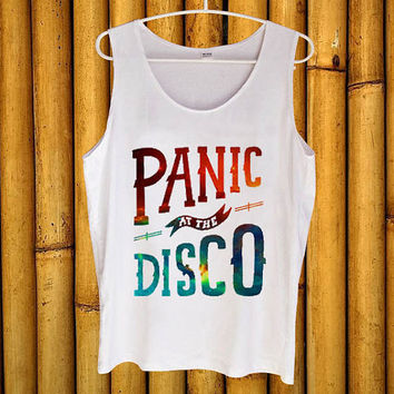 Panic At The Disco Logo white tanktop for men and women