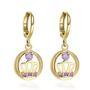 Beautiful Royal Snow White Princess Crown Cute Purple Sparkling Crystals Gold-Tone Fashion Earrings