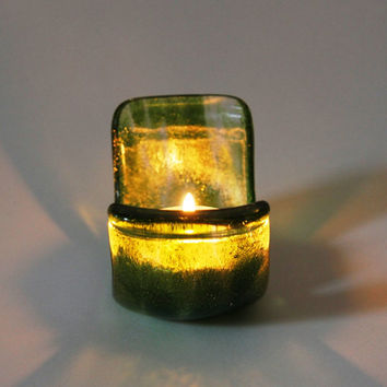 Fused Glass Candle Holder, Center Piece, Holiday Decor, Hostess Gift
