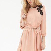 Crochet Embroidered Chiffon Dress