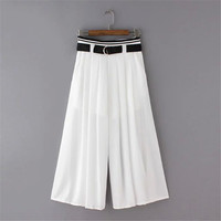 Women's Fashion Summer Pleated Pants Waistband Cropped Pants [4920278404]
