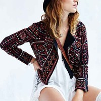 Ecote Embroidered Moto Jacket- Black Multi