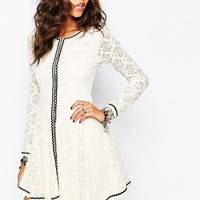 Stitch & Pieces Lace Zip Through Dress with Fluted Sleeve