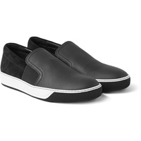 Lanvin - Matte Grained-Leather and Suede Slip-On Sneakers