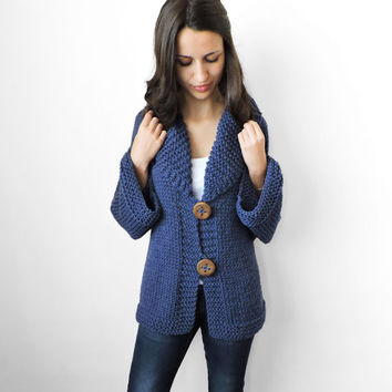 FREE SHIPPING Knit merino cardigan Handmade navy blue Hooded cardigan Big wood button Long sleeve cardigan Warm cozy winter wear Extra large