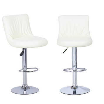 Adeco Cream Hydraulic Lift Adjustable Puckered Leatherette Barstool Chair Chrome Finish Pedestal Base (Set of two)
