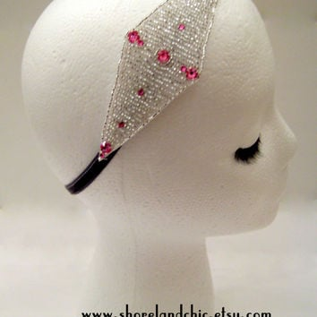 The Ella - Art deco headband, pink Gatsby headband, flapper costume, Prohibition party, Boardwalk Empire style, rhinestone headband