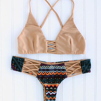 Melbourne Criss Cross Printed Cheeky Brazilian Bikini in Tan