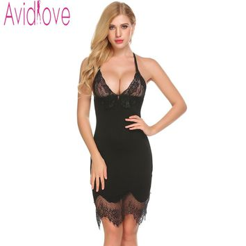 Avidlove 2018 New Women Nightwear Sleep Night Gown Sexy Lace Cotton V Neck Nightdress Sleepshirt Summer Backless Babydoll Dress