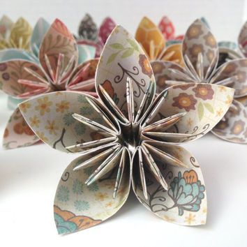 12 Multi Color Retro Print Kusudama Origami Flowers