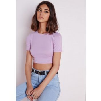 Missguided - Capped Sleeve Crop Top Lilac