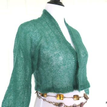 Kelly Green Silk Mohair Hand Knit Cardigan Sweater Shrug