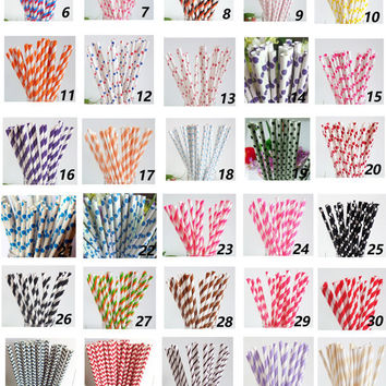 100 Colored Striped Star Dots Chevron Paper Drinking Straws-Cake Pop Sticks Party Drinking Straws for Wedding Easter Chirtmas Sweet 16