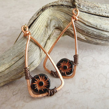 Wire Wrapped Copper Earrings - Wire Wrapped Jewelry Handmade - wire wrapped Earrings handmade