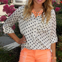 On Second Dot Top - Haute Pink Boutique