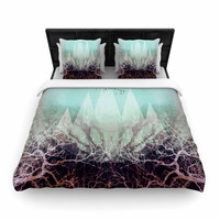 "Pia Schneider ""TREES Under MAGIC MOUNTAINS VI"" Teal White Woven Duvet Cover"