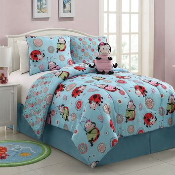 Victoria Classics Lady Bug 3-pc. Reversible Comforter Set (Blue)