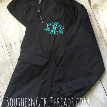 Monogrammed Pullover Rain Jacket-Monogram from SouthernGirlThread